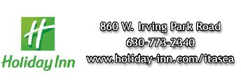 Holiday Inn logo and contact information