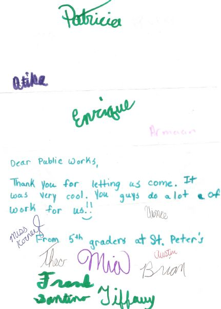 Thank you note from the 5th grade class of St. Peter the Apostle