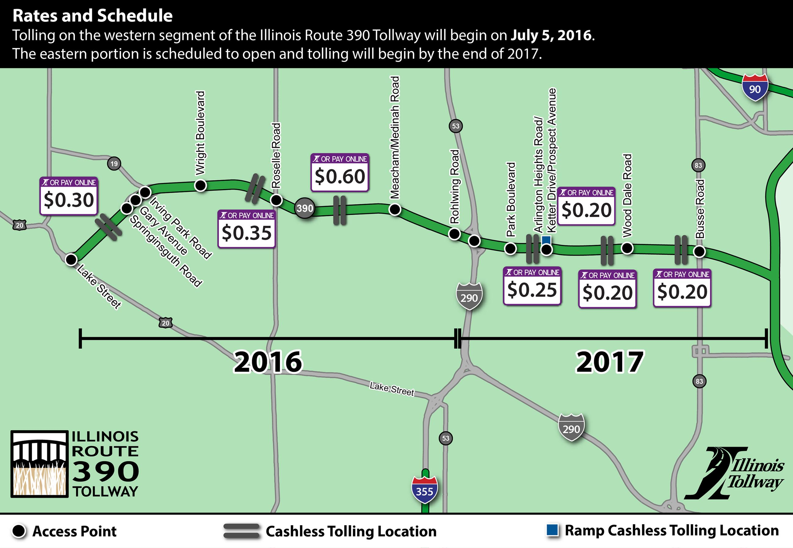 Route  Tolling Plan Itasca IL Official Website - Map of illinois tollway system