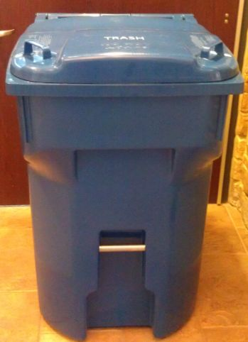 Standard garbage cart with a blue lid