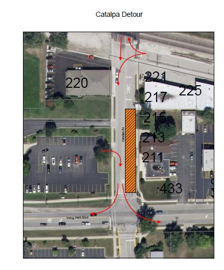 A map of the Catalpa Avenue detour