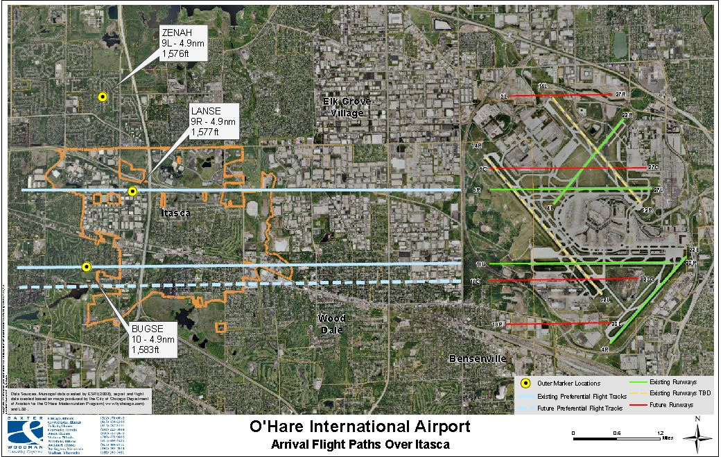 Arrival flight paths over Itasca